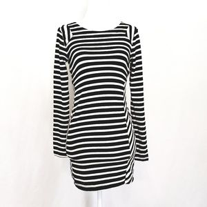 Black & White Striped Long Sleeved Mini Dress